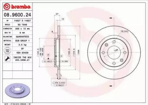Brembo 08.9600.24 - Bremžu diski autodraugiem.lv