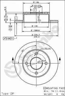 Brembo 08.4946.20 - Bremžu diski autodraugiem.lv