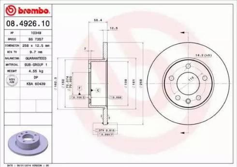 Brembo 08.4926.10 - Bremžu diski autodraugiem.lv