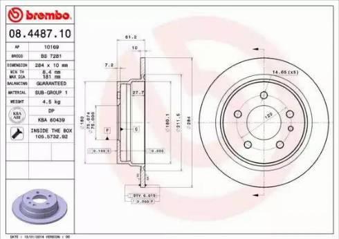 Brembo 08.4487.10 - Bremžu diski autodraugiem.lv