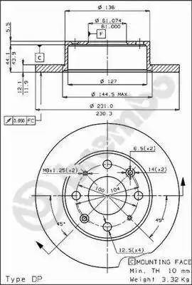 Brembo 08.4423.20 - Bremžu diski autodraugiem.lv