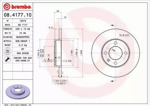 Brembo 08.4177.10 - Bremžu diski autodraugiem.lv