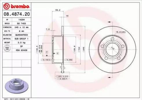 Brembo 08.4874.20 - Bremžu diski autodraugiem.lv