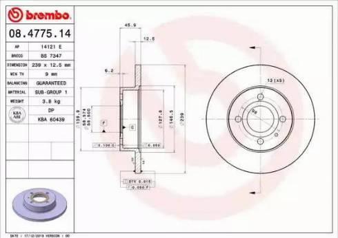 Brembo 08.4775.14 - Bremžu diski autodraugiem.lv