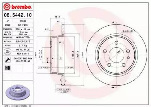 Brembo 08.5442.10 - Bremžu diski autodraugiem.lv