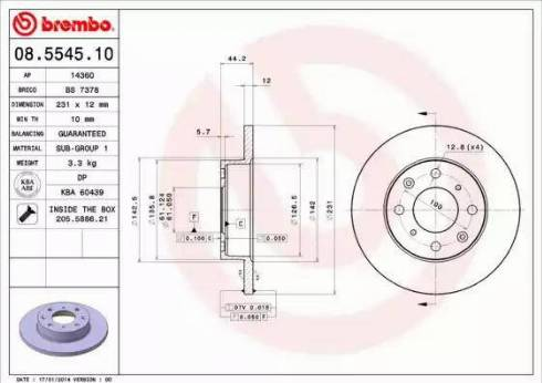 Brembo 08.5545.10 - Bremžu diski autodraugiem.lv