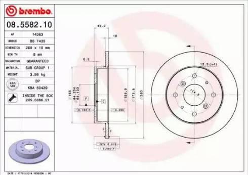 Brembo 08.5582.10 - Bremžu diski autodraugiem.lv