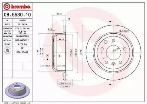 Brembo 08.5530.10 - Bremžu diski autodraugiem.lv