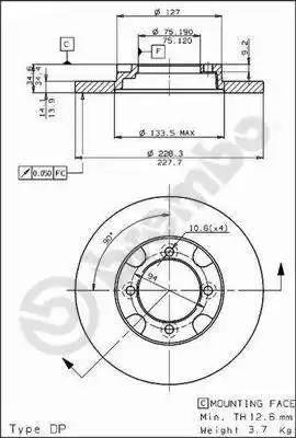 Brembo 08.5356.10 - Bremžu diski autodraugiem.lv