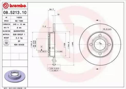 Brembo 08.5213.10 - Bremžu diski autodraugiem.lv