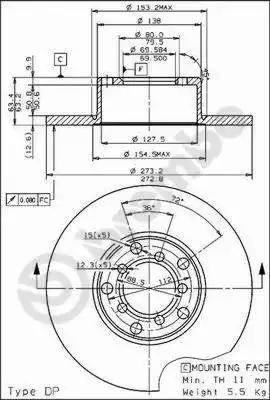 Brembo 08.1511.10 - Bremžu diski autodraugiem.lv