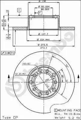 Brembo 08.1511.20 - Bremžu diski autodraugiem.lv