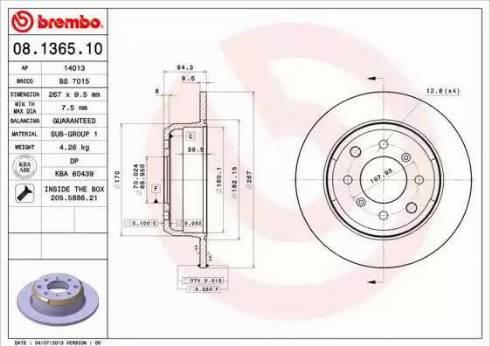 Brembo 08.1365.10 - Bremžu diski autodraugiem.lv