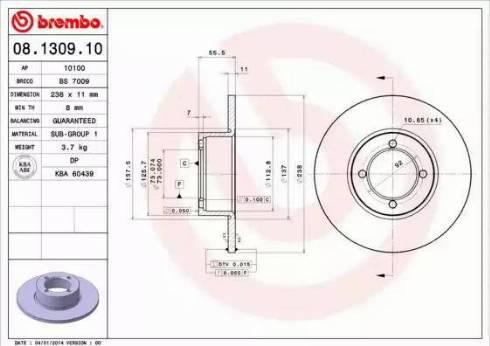 Brembo 08.1309.10 - Bremžu diski autodraugiem.lv
