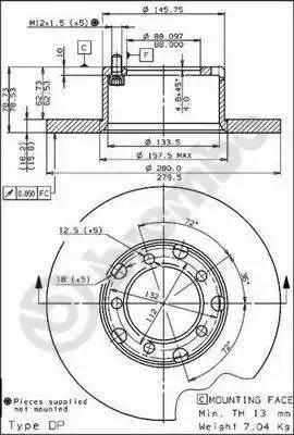 Brembo 08.3959.20 - Bremžu diski autodraugiem.lv