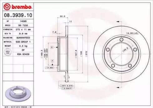 Brembo 08.3939.10 - Bremžu diski autodraugiem.lv