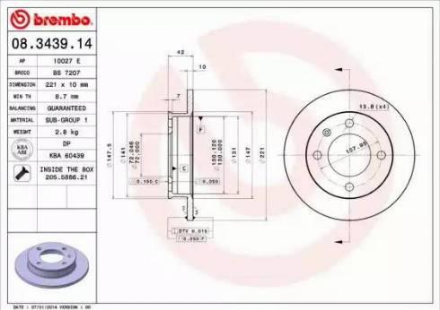 Brembo 08.3439.14 - Bremžu diski autodraugiem.lv