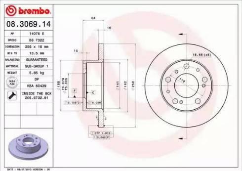 Brembo 08.3069.14 - Bremžu diski autodraugiem.lv