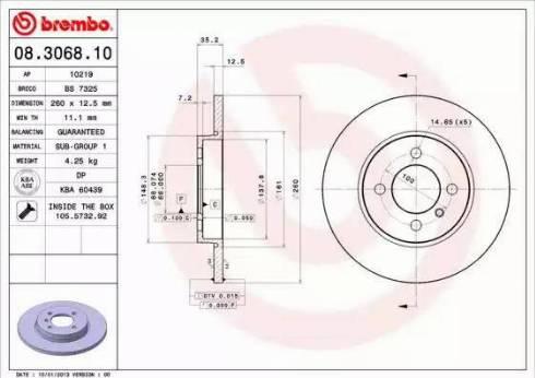 Brembo 08.3068.10 - Bremžu diski autodraugiem.lv