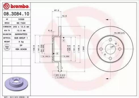 Brembo 08.3084.10 - Bremžu diski autodraugiem.lv
