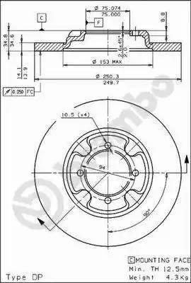 Brembo 08.3109.10 - Bremžu diski autodraugiem.lv