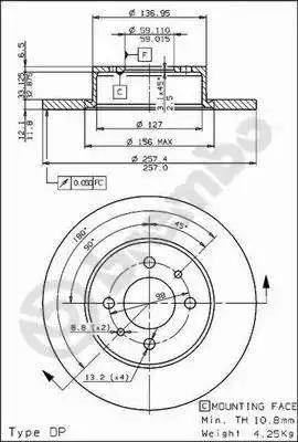 Brembo 08.3129.10 - Bremžu diski autodraugiem.lv