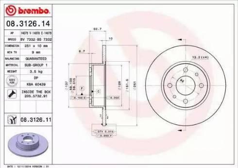 Brembo 08.3126.14 - Bremžu diski autodraugiem.lv