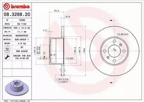 Brembo 08.3288.20 - Bremžu diski autodraugiem.lv