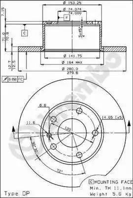 Brembo 08.3712.10 - Bremžu diski autodraugiem.lv