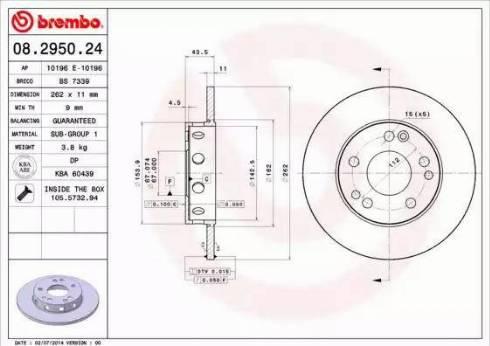 Brembo 08.2950.24 - Bremžu diski autodraugiem.lv