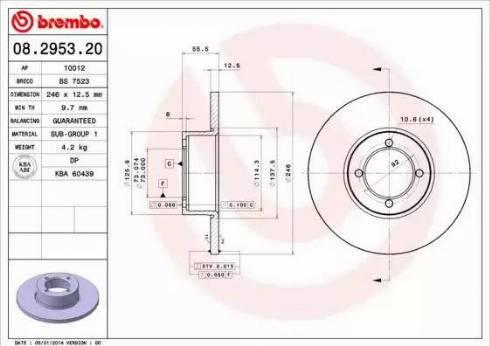 Brembo 08.2953.20 - Bremžu diski autodraugiem.lv