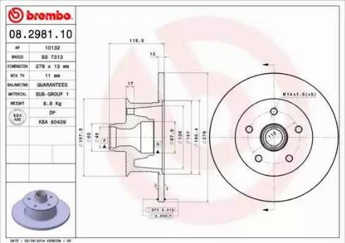 Brembo 08.2981.10 - Bremžu diski autodraugiem.lv