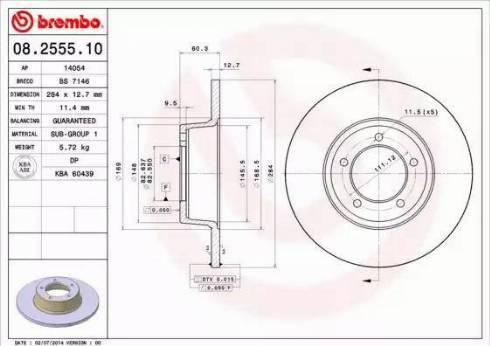 Brembo 08.2555.10 - Bremžu diski autodraugiem.lv