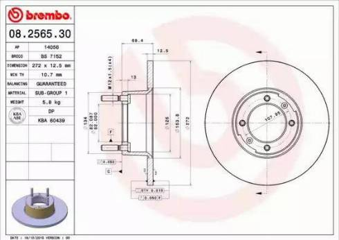Brembo 08.2565.30 - Bremžu diski autodraugiem.lv