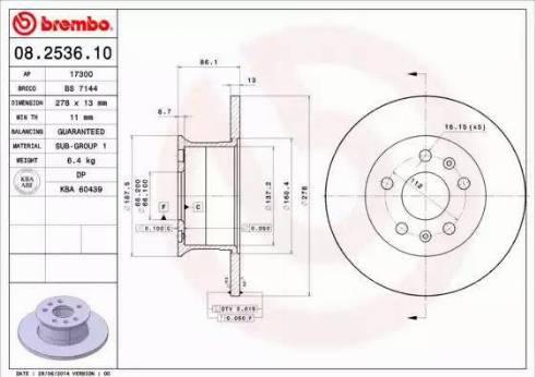 Brembo 08.2536.10 - Bremžu diski autodraugiem.lv
