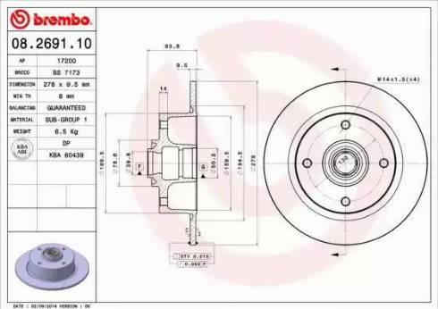 Brembo 08.2691.10 - Bremžu diski autodraugiem.lv