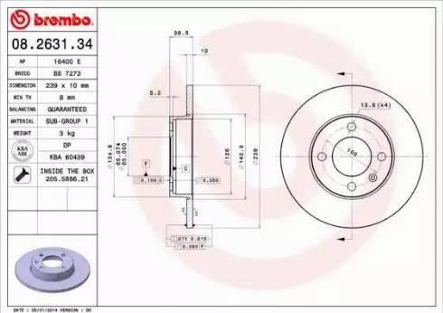 Brembo 08.2631.34 - Bremžu diski autodraugiem.lv
