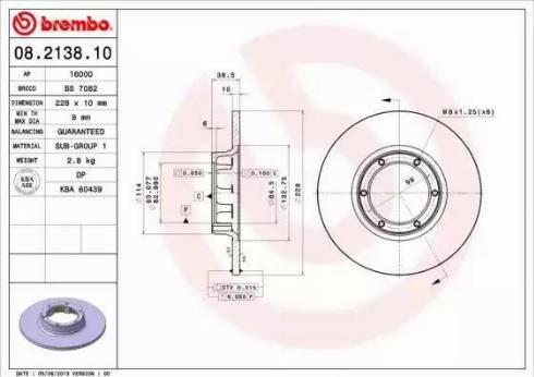 Brembo 08.2138.10 - Bremžu diski autodraugiem.lv