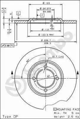Brembo 08.2266.10 - Bremžu diski autodraugiem.lv