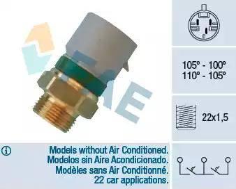 FAE 38350 - Temperatūras slēdzis, radiatora / gaisa kondicioniera ventilators autodraugiem.lv