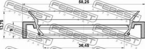 Febest 95HAY-38580914C - Vārpstas blīvgredzens, Diferenciālis autodraugiem.lv