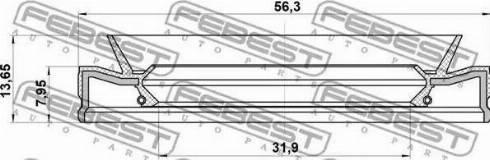 Febest 95HEY-33560814C - Vārpstas blīvgredzens, Automātiskā pārnesumkārba autodraugiem.lv