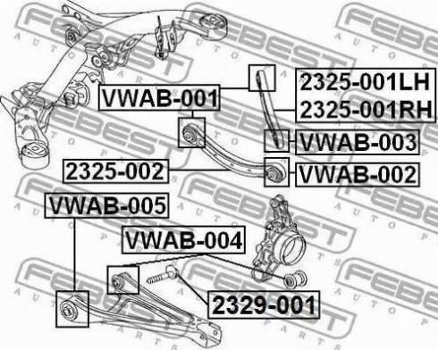 Febest 2329-001 - Riteņu sagāzuma regulēšanas skrūve autodraugiem.lv