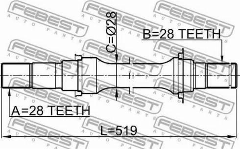 Febest 2212-CAR - Piedziņas vārpsta autodraugiem.lv