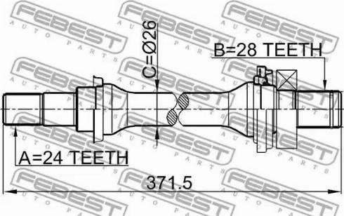 Febest 2212-SPAAT - Piedziņas vārpsta autodraugiem.lv