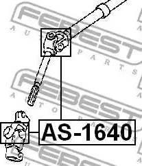 Febest AS-1640 - Šarnīrs, Stūres sviras vārpsta autodraugiem.lv