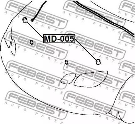 Febest MD-005 - Buferis, Motora pārsegs autodraugiem.lv