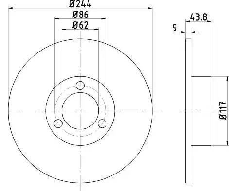 HELLA 8DD 355 100-481 - Bremžu diski autodraugiem.lv