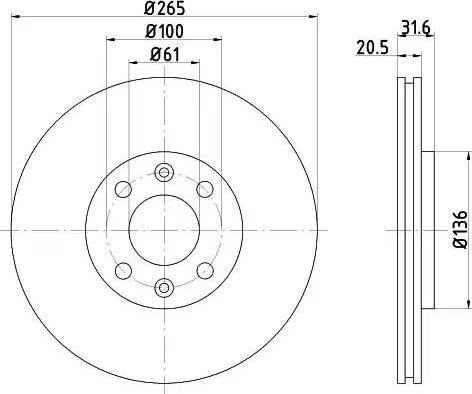 HELLA 8DD 355 102-141 - Bremžu diski autodraugiem.lv