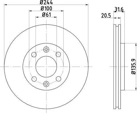 HELLA 8DD 355 102-151 - Bremžu diski autodraugiem.lv